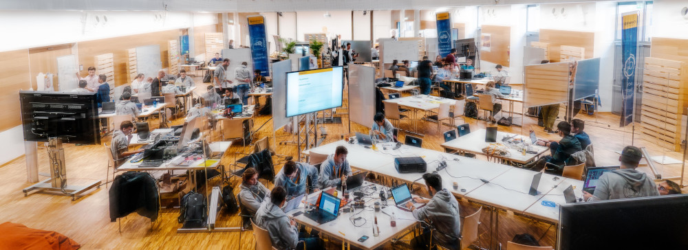 Part of the hack area of the Fiction2Science Hackathon of Continental in Regensburg